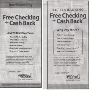 Free Checking newspaper advertising