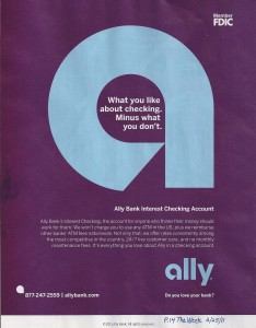 Ally Bank Magazine Ad What You Like About Free Checking