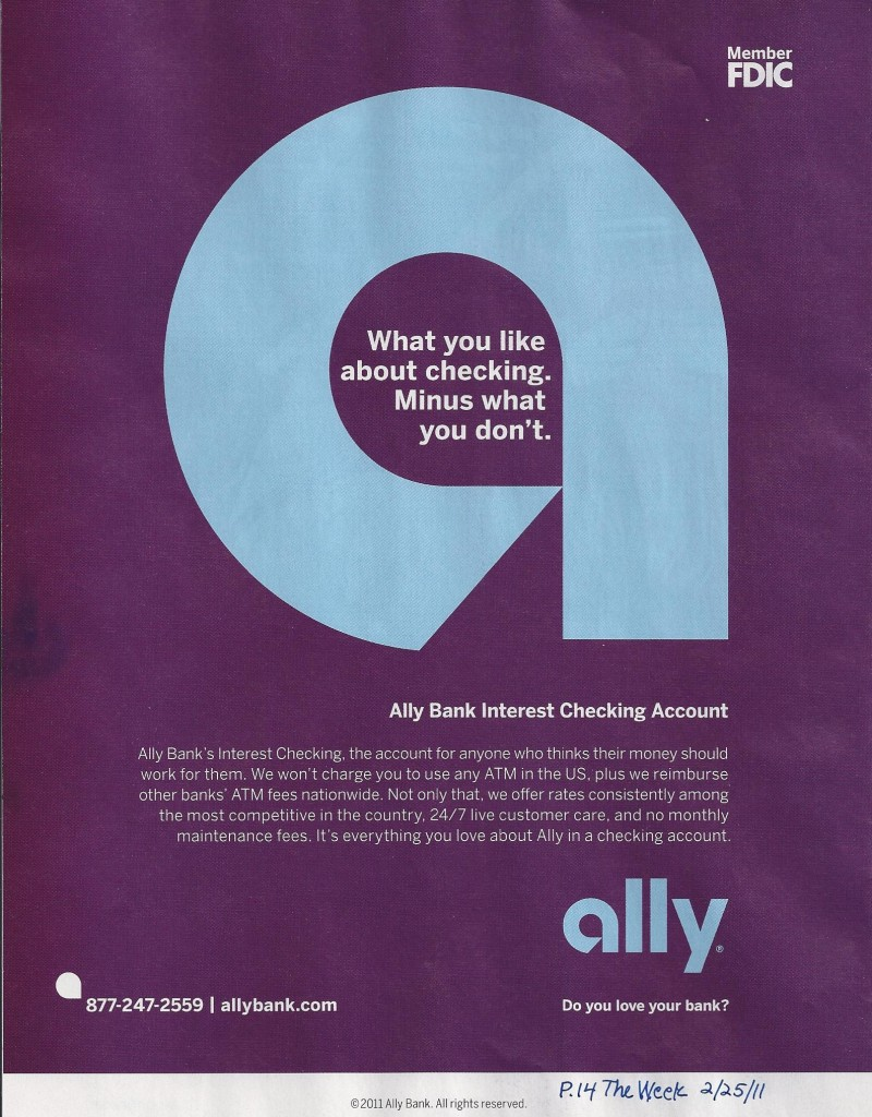 ally bank interest checking account magazine ad