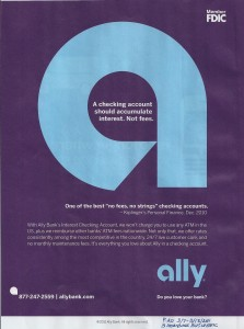 ally bank free checking ad