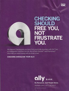 Ally Bank Ad Offers Free Checking Without Mentioning Free Checking