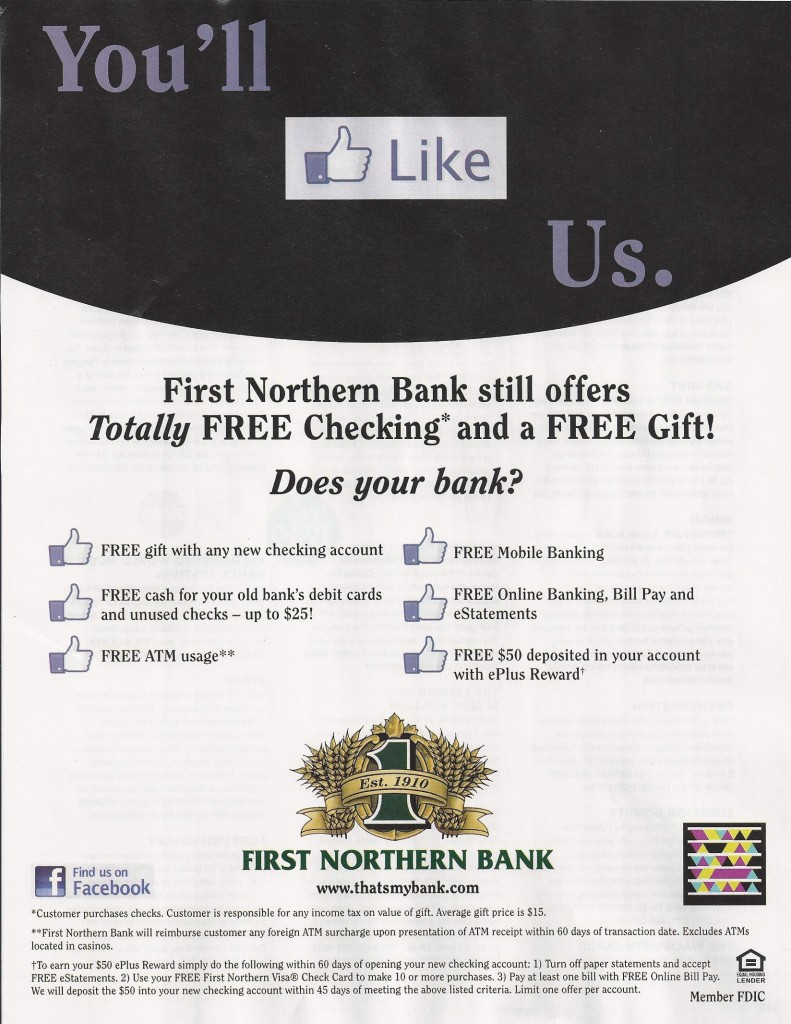 First Northern Bank Totally Free Checking
