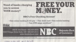 Nebraska Bank of Commerce Free Checking Newspaper Ad