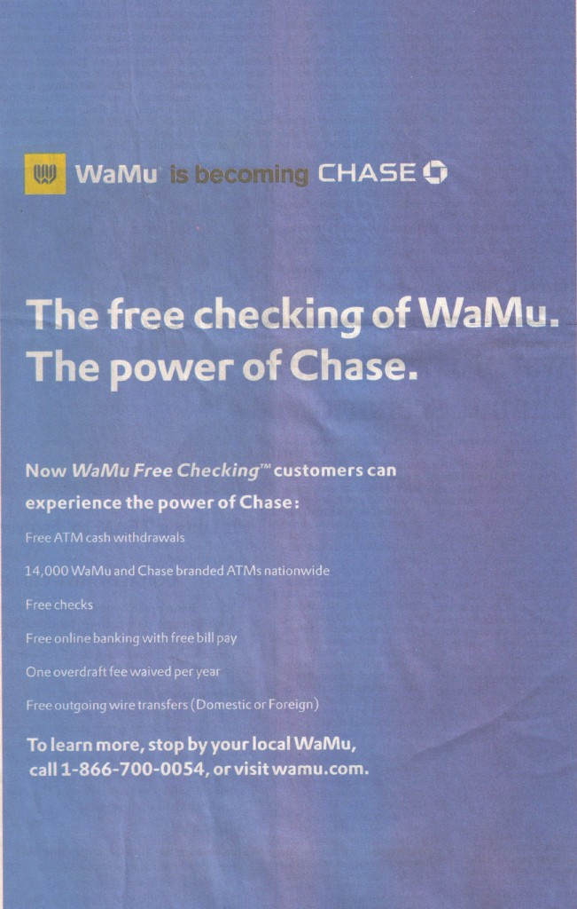 WaMu and Chase Free Checking
