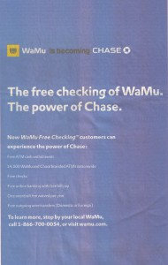 WaMu is Becoming Chase Free Checking Power