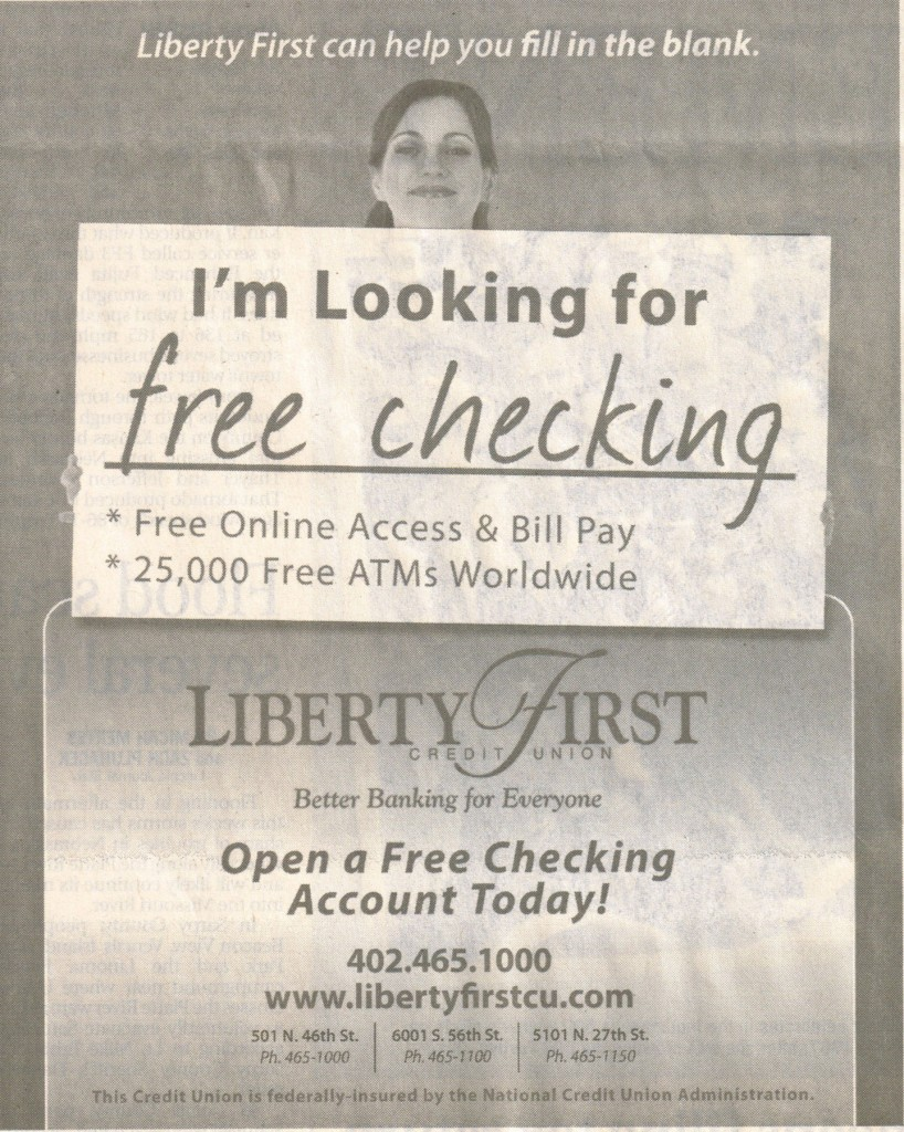 Liberty First Free Checking Newspaper Ad