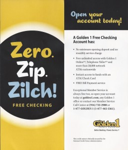 Golden1 Free Checking Two Panel Brochure