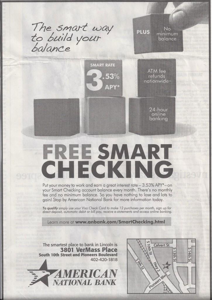 free smart checking newspaper ad